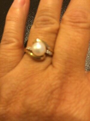 Vintage Ladies Yellow Gold 14K Diamond Pearl Ring Sz 7.5