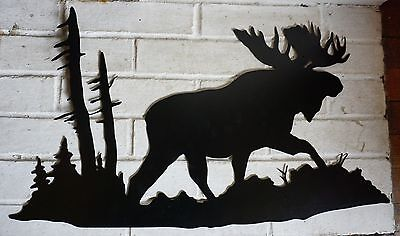 MOOSE FOREST SILHOUETTE BLACK CUT METAL WALL ART Lodge Cabin Home Decor NEW