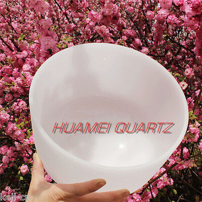 HUAMEI Chakra Tune White Frosted Quartz Crystal Singing Bowl 12 inch