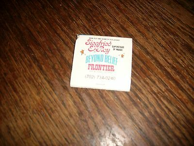 1970-1980 Siegfried & Roy Superstars Magic Frontier Las Vegas Matchbook Unused