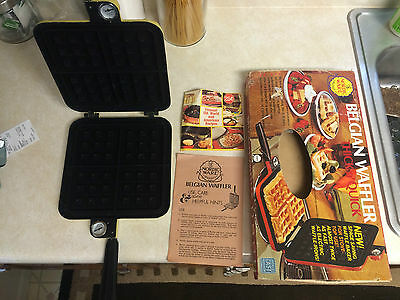 vintage yellow  BELGIAN WAFFLER thick n' quick with box & instructions