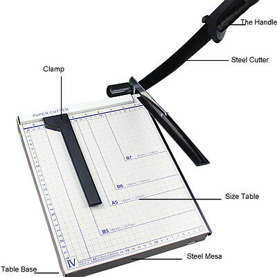 """12"""" Heavy Duty Adjustable Guide A4 Durable Paper Cutter Guillotine Without Noise"""