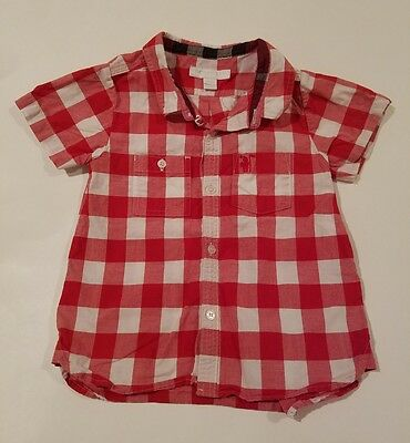 Baby toddler boy Burberry button down shirt top red white plaid check size 3 3t