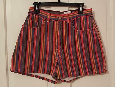 Vtg Denim Republic Shorts Salt N Pepa Striped Jean Denim High Waisted Summer 12