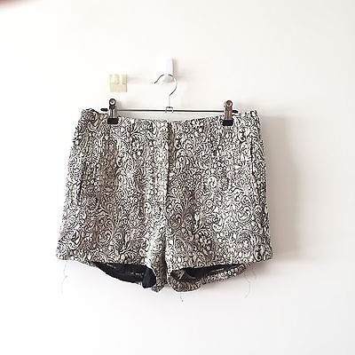 Forever New Womens Shorts 10 small gold black floral casual party