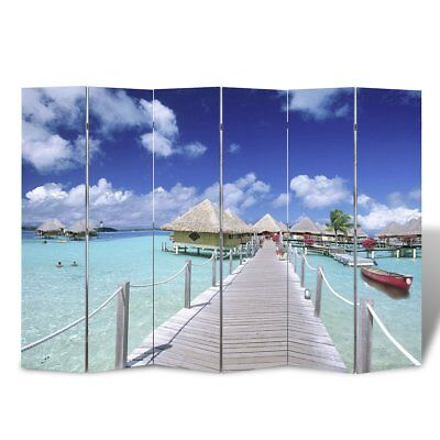 Large Folding 6 Panels Room Divider Screen Solid Wood Print Beach Privacy 240cm