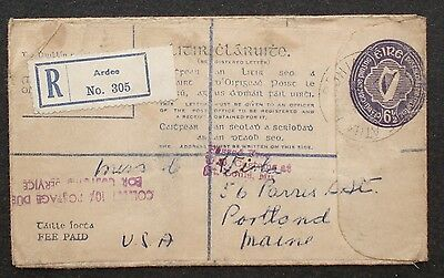 IRELAND #  REGISTERED,  6 1/2  c   STAMPED POSTAL COVER to US 1951