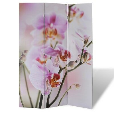Large Folding 3 Panels Room Divider Screen Solid Wood Print Flower Privacy 120cm