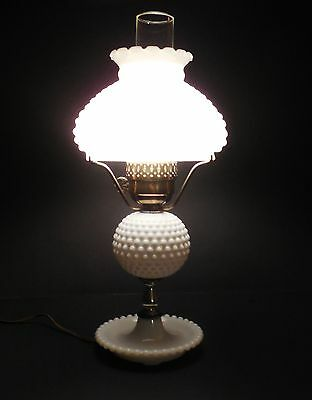 Vintage White Milk Glass Hobnail Lamp Large Shade & Hurricane Working 50's-60's