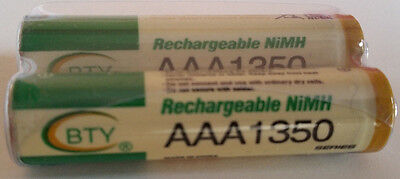 2 Piles rechargeables AAA 1,2V NiMh Ni-Mh BTY