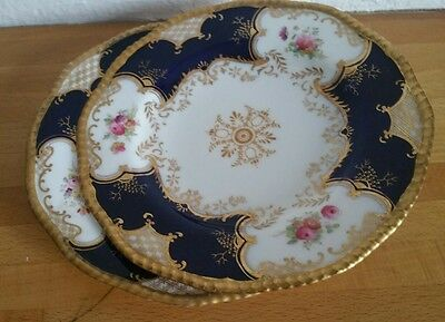 2 Coalport England  1750 Cobalt With Gold And Flowers