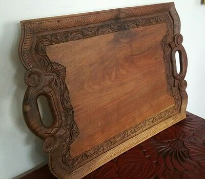 2 Handle Wooden Carved Tray