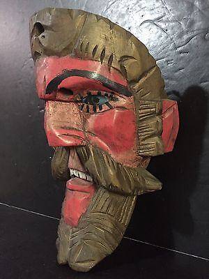 Vintage Antique Guatemalan Hand Carved Wooden Dance Mask Painted Glass Eyes Red