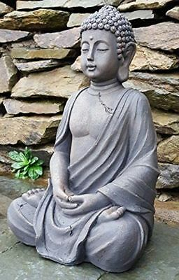 Sitting Buddha Garden Ornament Large Stone Effect Statue Outdoor Patio Decor NEW