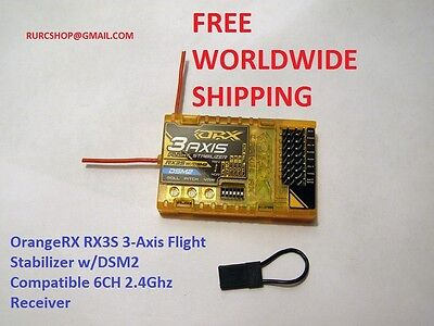 OrangeRX RX3S 3-Axis Flight Stabilizer w/DSM2 2.4gh 6ch receiver free shipping!