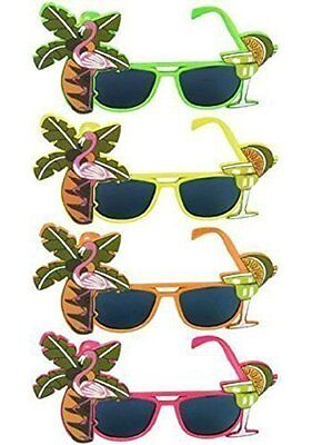 Fancy Dress Hawaiin Beach Party Tropical Coloured Sunglasses Accessory Orange