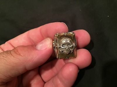 Vintage Mexican Biker Ring Skull antique pirate mixed metal stamped Mexico