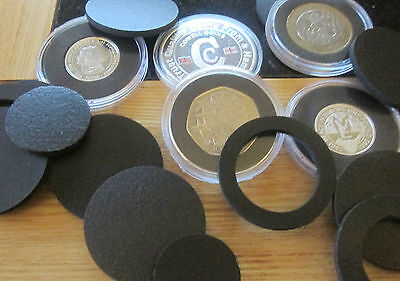 Capsules /inserts for coins to make all coins fit 39 - 40 mm capsules £2 £1 50p