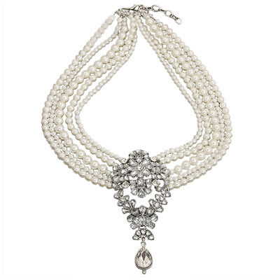 Multi-Pearls Crystal Pendant Necklace Fashion Chunky Choker Jewelry for Women