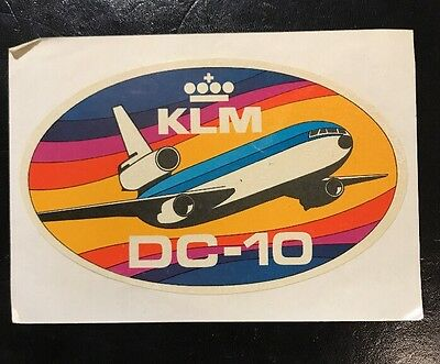 KLM AIRLINES DC-10 vintage 1980's Aviation Advertising Sticker Very Rare