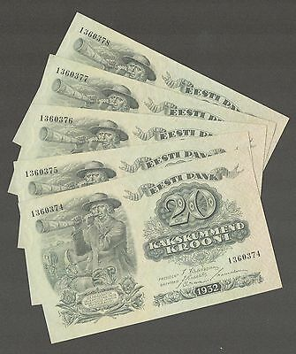 Estonia 20 kr 1932 CONSECUTIVE 5pcs  sn374-378 UNC