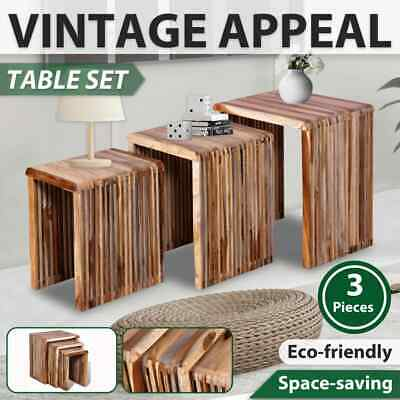 Reclaimed Teak Timber 3 pc Nesting Bedside Table Coffee Side Stackable Lounge