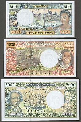 French Pacific Territories 500, 1000, 5000 Francs 1992, 96, 03 UNC