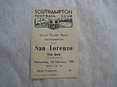 Southampton v San Lorenzo 1st Feb 1956 Rare Friendly, VGC