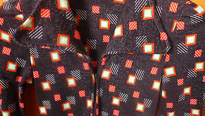 CHIC VINTAGE ROBE 1970 rétro DRESS 70s MOD GRAPHIC chocolat orange KITSCH 36/38