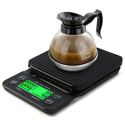 3kg 0.1g Digital Drip Coffee Scale with Timer Electronic Scales LCD w/ backlight