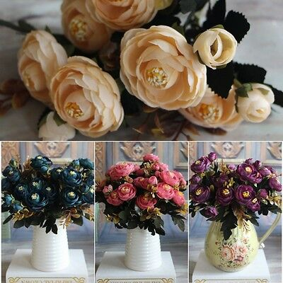 Artificial Silk Fake Flowers Leaf Peony Floral Bouquet Home Wedding Party AU