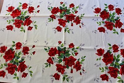 Vintage Retro 1950s  Red Roses Wilendur Cotton Tablecloth Table Cloth Square