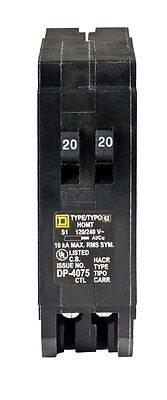 Square D  HomeLine  Tandem/Single Pole  20/20 amps Circuit Breaker