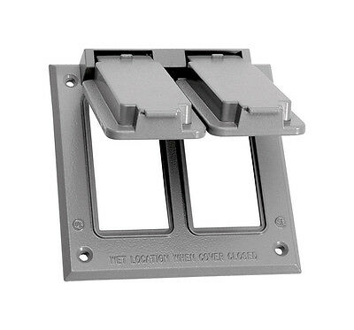 Sigma  Square  Aluminum  2 gang Electrical Cover  For 2 GFCI Receptacles Gray
