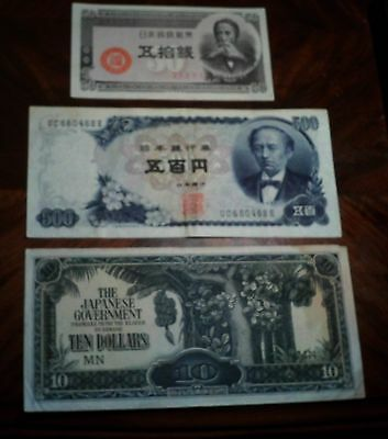 Japan 1948 50 Cent, 1969 500 Yen Banknotes & A 10 Dollar Occupation Banknote