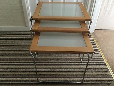 Nest of Three Tables,Wooden,Glass,Chrome,Side Tables,