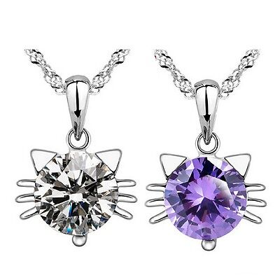 Cat Pendant Necklace Rhinestone Hot Sale Silver Plated Crystal 2 Colors Chain
