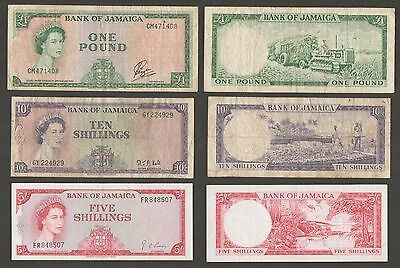 Jamaica 5, 10 Shillings and 1 Pound 1960-64 F-aXF