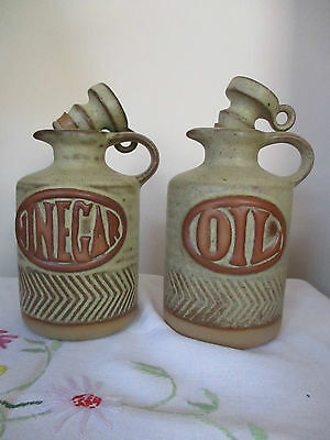 Stoneware Oil & Vinegar Set With Stoppers New  {Made In Cornwall }