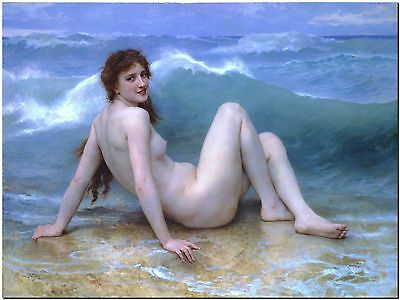"""Girl in Waves by William Bouguereau Canvas Print Poster 12X16"""""""