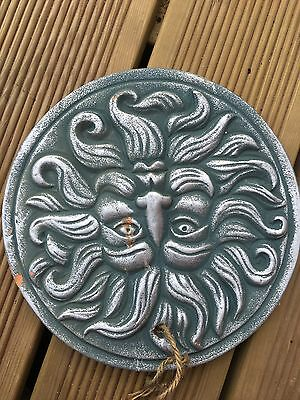 Terracotta Painted Green Man Plaque