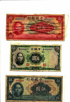 Early Chinese Banknotes – 5 Yuan 1936 – 5 And 10 Yuan 1940