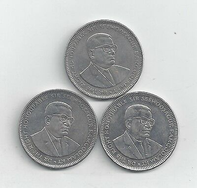 3 DIFFERENT 1 RUPEE COINS from MAURITIUS (2008, 2009 & 2010)
