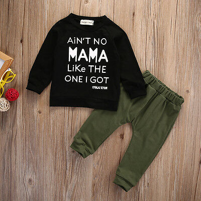 Camouflage 2PCS Toddler Kids Baby Boy T-shirt+Long Pants Outfits Set Tracksuit