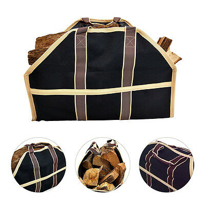 Firewood Canvas Caddy Log Tote Bag Carrier Holder Transports Tool Large Capacity