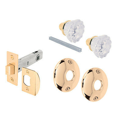 Prime-Line  Passage Door Knob  Brass  Glass/Steel