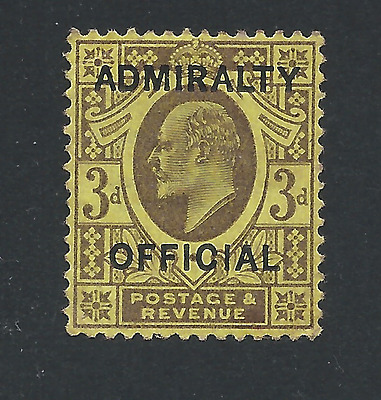 GB-KE7 ADMIRALTY OFFICIAL 1903 3d DULL PURPLE/ORANGE-YELLOW MM SG O106 CAT £425