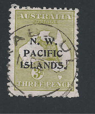 PNG-NEW GUINEA 1915-16 3d YELLOWISH OLIVE DIE 1 FU SG 76 CAT £55