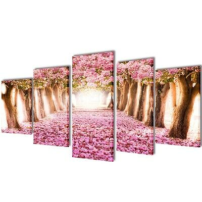 Set of 5 Cherry Blossom Canvas Prints Framed Wall Art Decor Painting 200x100cm