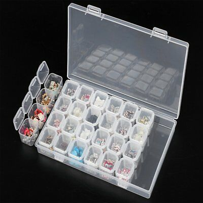 28 Slots Diamond Painting Accessories Box Embroidery Case Geometric Holder BG